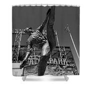 Statue Of Juan Marichal Outside Atandt Park San Francisco Shower Curtain