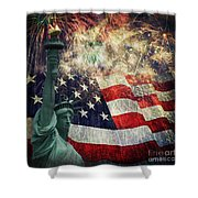 Statue Of Liberty And Fireworks Shower Curtain