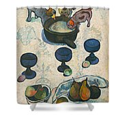 Still Life With Three Puppies Shower Curtain