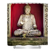 Stone Statue Of Buddha In Bali Indonesia Shower Curtain