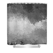 Storm Clouds Over A Cornfield Bw Shower Curtain