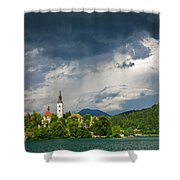 Storm Light Over Lake Bled Shower Curtain