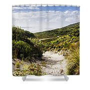Strahan Coast Landscape Winding To The Ocean Shower Curtain