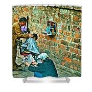 Streetside Barbershop In Hanoi-vietnam  Shower Curtain