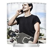Student Talking To A Friend On Mobile Smartphone Shower Curtain