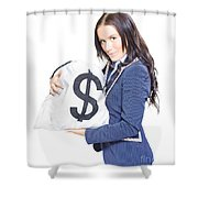 Successful Business Woman Holding Bags Of Money Shower Curtain