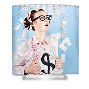 Successful Female Business Superhero Winning Money Shower Curtain