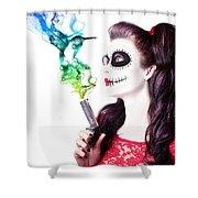 Sugar Skull Girl Blowing On Smoking Gun Shower Curtain