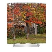 Sugarhouse In Autumn Shower Curtain