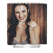 Summer Cafe Woman Eating Breakfast Cereal Shower Curtain