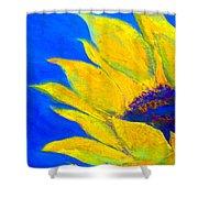 Sunflower In Blue Shower Curtain