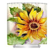 Sunflower Watercolor Shower Curtain