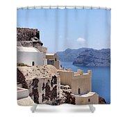 Sunny Santorini Shower Curtain