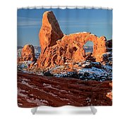 Sunrise At Turret Arch Shower Curtain
