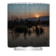 Sunrise Over The Beaver Pond Shower Curtain