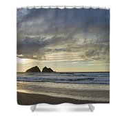 Sunset At Holywell Bay Shower Curtain