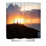 Sunset At Strumble Head Lighthouse Shower Curtain