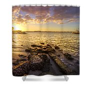 Sunset Light Shower Curtain by Debra and Dave Vanderlaan