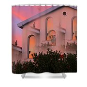 Sunset On Houses Shower Curtain by Augusta Stylianou