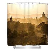 Sunset Over Bagan - Myanmar Shower Curtain