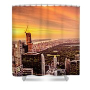 Sunset Over Central Park And The New York City Skyline Shower Curtain