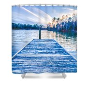 Sunset Over Lake Wylie At A Dock Shower Curtain