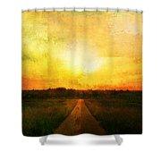 Sunset Road Shower Curtain by Brett Pfister