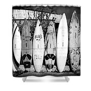 Surf Board Fence Maui Hawaii Shower Curtain by Edward Fielding