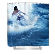 Surfer Carving On Splashing Wave, Interesting Perspective And Blur Shower Curtain