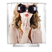 Surprised Beautiful Pin-up Girl. White Background Shower Curtain
