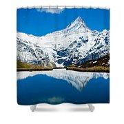 Swiss Alps - Schreckhorn Reflection  Shower Curtain