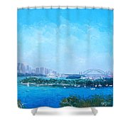 Sydney Harbour And The Opera House Cityscape View Shower Curtain