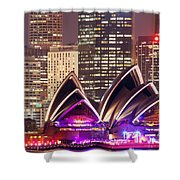 Sydney Skyline At Night With Opera House - Australia Shower Curtain