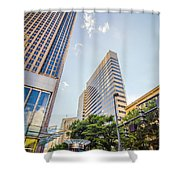 Tall Highrise Buildings In Uptown Charlotte Near Blumenthal Perf Shower Curtain