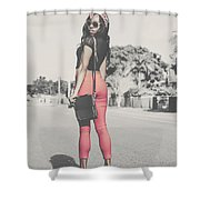 Tall Young Black Woman Modelling Handbag Accessory Shower Curtain