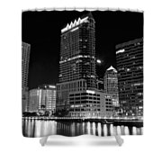 Tampa Black And White  Shower Curtain