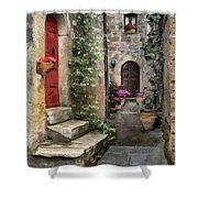 Tarquinia Red Door Impasto Shower Curtain