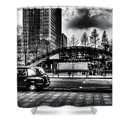 Taxi At Canary Wharf Shower Curtain
