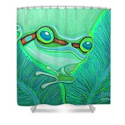 Teal Frog Shower Curtain