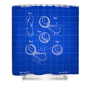 Tennis Ball Patent 1914 - Blue Shower Curtain