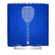 Tennis Racket Patent 1887 - Blue Shower Curtain