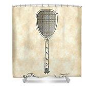 Tennis Racket Patent 1887 - Vintage Shower Curtain