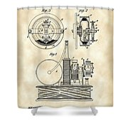 Tesla Electric Circuit Controller Patent 1897 - Vintage Shower Curtain