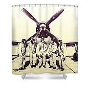 Test Pilots With P-47 Thunderbolt Fighter Shower Curtain