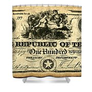 Texas Banknote, 1839 Shower Curtain