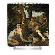 Adam And Eve After The Expulsion From Paradise Shower Curtain