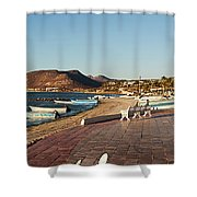 The Beachside Strolling Malecon Shower Curtain