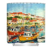 The Brixham Harbour Shower Curtain