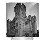 The Castle Of Sirmione. Lago Di Garda Shower Curtain