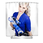 The Classic Pin-up Image. Girl In Retro Style Shower Curtain